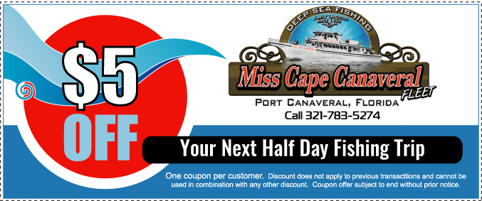 $5 OFF 1/2 Day or Shark Fishing